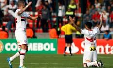 Jogadores do São Paulo comemoram a classificação em Toluca Foto: EDGARD GARRIDO / REUTERS