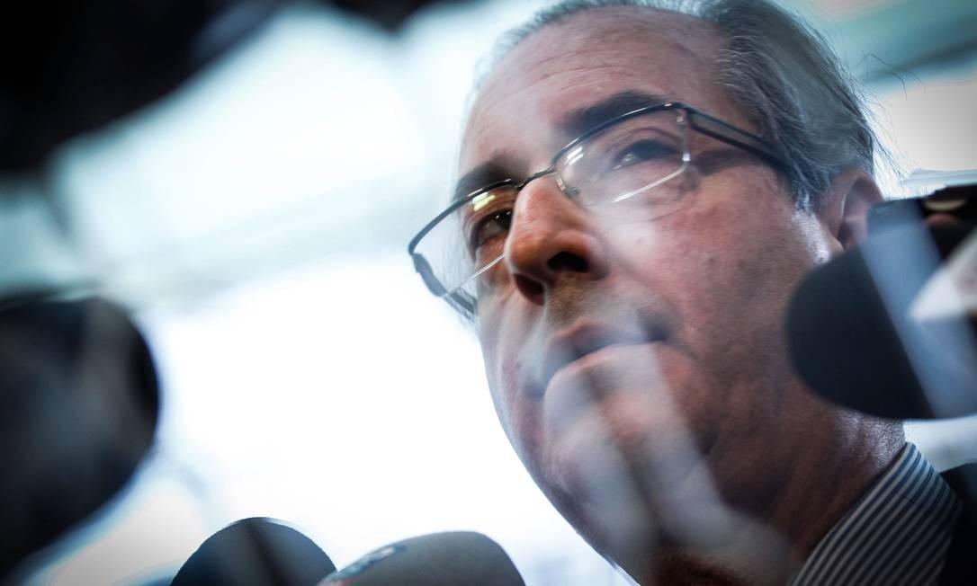Brasília, em 2 de setembro de 2015. Eduardo Cunha fala em entrevista coletiva Foto: André Coelho / Agência O Globo
