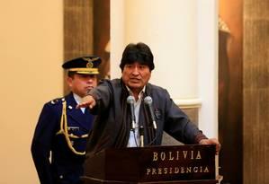 Evo Morales discursa durante comemoração do Dia do Trabalho, em 1º de maio, em La Paz Foto: DAVID MERCADO / REUTERS