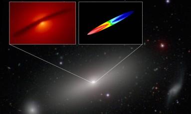 Imagem combinada da galáxia NGC 1332 mostra o disco de gás em torno do buraco negro supermaciço na sua região central, vista em luz visível pelo Hubble (destaque à esquerda) e na faixa milimétrica/submilimétrica pelo Alma (destaque à direita), com as cores indicando quando elas estão se aproximando (em azul) ou se afastando (em vermelho) relativamente à Terra Foto: A. Barth/Alma/NRAO/ESO/NAOJ/NASA/ESA/Hubble/Carnegie-Irvine Galaxy Survey