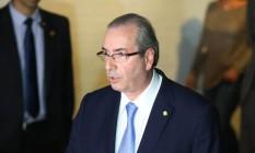 O deputado Eduardo Cunha (PMDB-RJ) após ser afastado por decisão do STF Foto: Andre Coelho / Agência O Globo / 5-5-2016