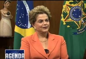 Dilma em entrevista à Telesur Foto: Reprodução