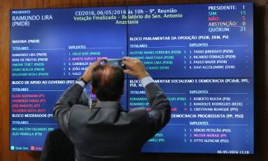Painel com o resultado da aprovação do relatório da comissão especial de impeachment Foto: Ailton Freitas / O Globo