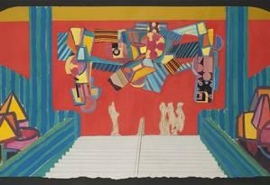"""Estudo para o painel """"Carnaval"""", feito para o Teatro Municipal, nos anos 1960, em grafite, guache e colagem Foto: Divulgação"""