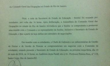 Documento garantindo a presença do secretário Antônio Neto em reunião foi assinado ontem Foto: Agência O Globo / Giselle Ouchana