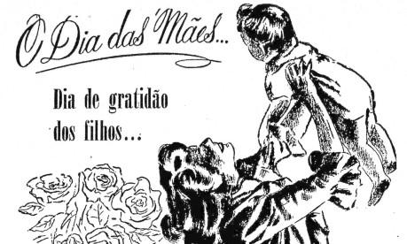 Década de 40. Anúncio da loja A Exposição Carioca, no Largo da Carioca (esquina com a Rua Gonçalves Dias), explora a ideia de gratidão no Dia das Mães Foto: 29/05/1947 / Acervo O Globo