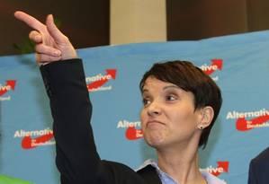 Frauke Petry, após o encerramento das eleições estaduais em março Foto: Michael Sohn/AP
