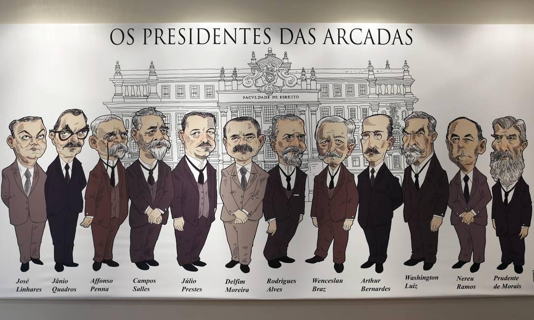 Mural mostra ex-presidentes da República que se formaram na Faculdade de Direito da USP Foto: Edilson Dantas / Agência O Globo