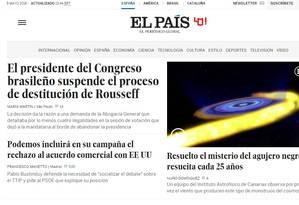 No 'El País', notícia da anulação da sessão do impeachment de Dilma na Câmara é a manchete Foto: Reprodução