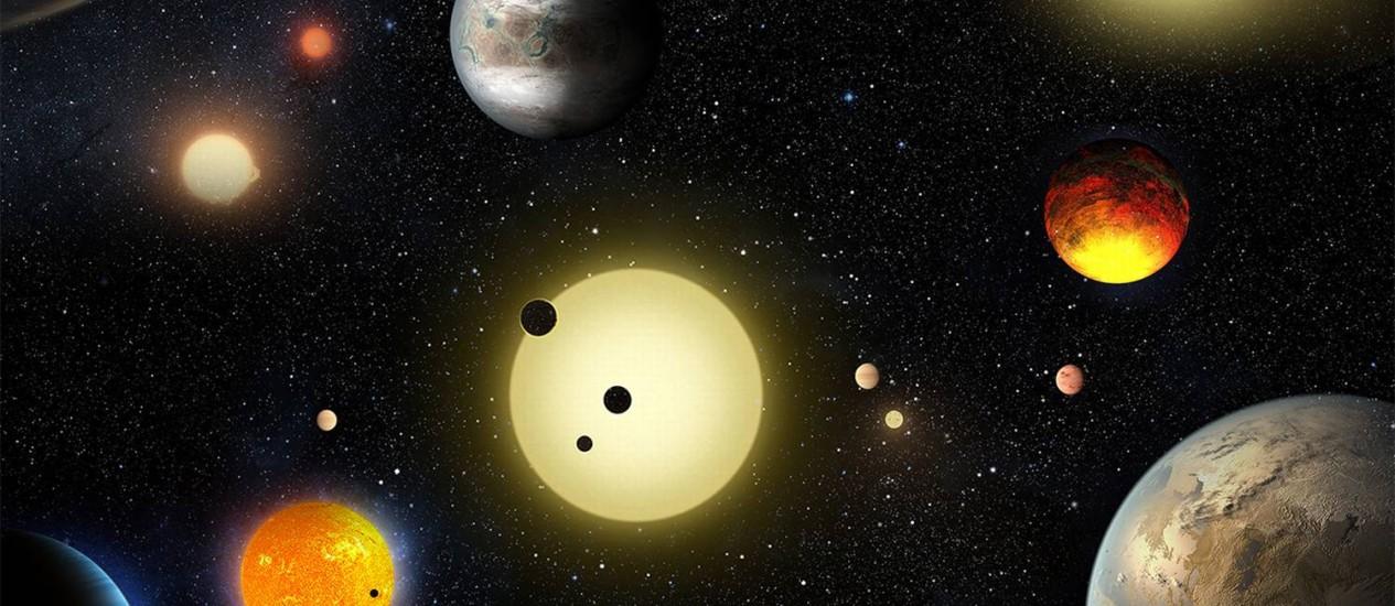 Ilustração reúne uma amostra da miríade de planetas extrassolares já encontrados pelo telescópio espacial Kepler Foto: NASA Ames/W. Stenzel