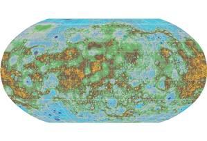 Mapa topográfico revela detalhes do relevo de Mercúrio Foto: NASA