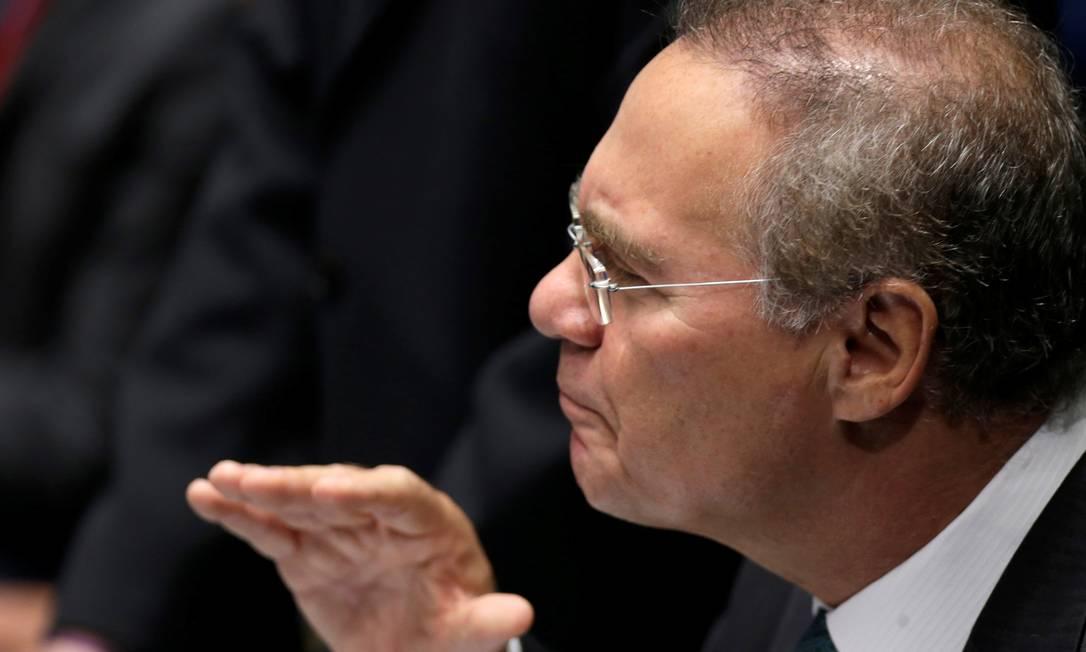 Renan Calheiros (PMDB-AL) fala durante a sessão que vota admissibilidade de culpa da presidente Dilma Rousseff Ueslei Marcelino / Reuters
