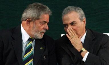 Luiz Inácio Lula da Silva e Michel Temer em 2010 Foto: Gustavo Miranda / Agência O Globo / 7-6-2010