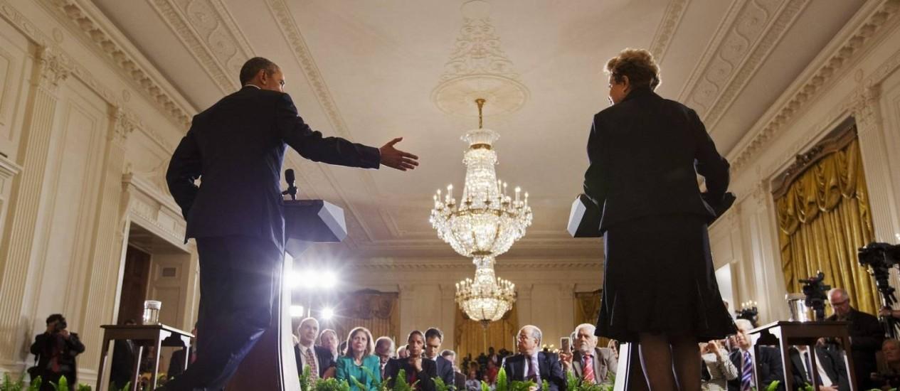 Em junho de 2015, Obama e Dilma discursam juntos na Casa Branca Foto: AP/Jacquelyn Martin