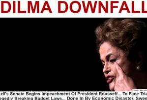 'A queda de Dilma', título da manchete da seção internacional do site Huffington Post, que faz análise do afastamento da presidente Foto: Reprodução