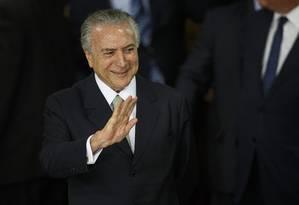 O presidente em exercício, Michel Temer, discursa durante a posse dos novos ministros. Foto: Daniel Marenco / Agencia O Globo / 12-5-2016