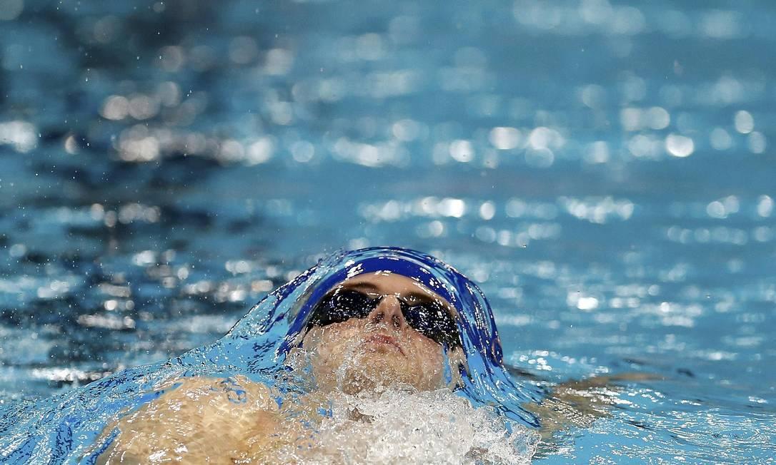 Christoph Walker-Hebborn na final do 4x100m medley, prova que mescla quatro estilos: costas, peito, borboleta e crawl ANDREW BOYERS / REUTERS