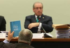 Eduardo Cunha se defende no Conselho de ética da Câmara Foto: Andre Coelho / Agência O Globo