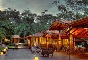 Varanda do Cristalino Lodge, no sul da Amazônia, no Mato Grosso Foto: Samuel Melim / Divulgação