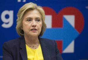 Hillary fala em evento em Nova York Foto: Mary Altaffer / AP
