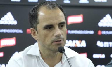 Rodrigo Caetano, diretor executivo do Flamengo, durante entrevista coletiva Foto: Divulgação