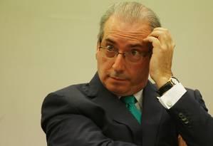 O presidente afastado da Câmara dos Deputados, Eduardo Cunha (PMDB-RJ) presta depoimento no Conselho de Ética Foto: Michel Filho / Agência O Globo / 19-5-2016