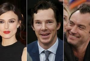 Keira Knightley, Benedict Cumberbatch e Jude Law apoiam permanência na UE Foto: AP e Reuters