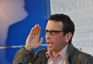 """Resistência. O líder opositor Henrique Capriles numa entrevista: """"Não há cultura de diálogo na Venezuela"""", diz Foto: JOSE PACHECO / JOSE PACHECO/EL NACIONAL"""