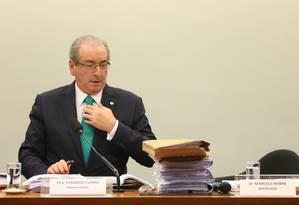 O deputado afastado Eduardo Cunha (PMDB-RJ) em depoimento no Conselho de Ética da Câmara Foto: Andre Coelho / Andre Coelho / 19-5-2016