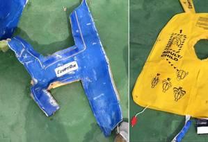 Imagens mostram colete salva-vidas e parte de avião da Egyptair Foto: Exército egípcio