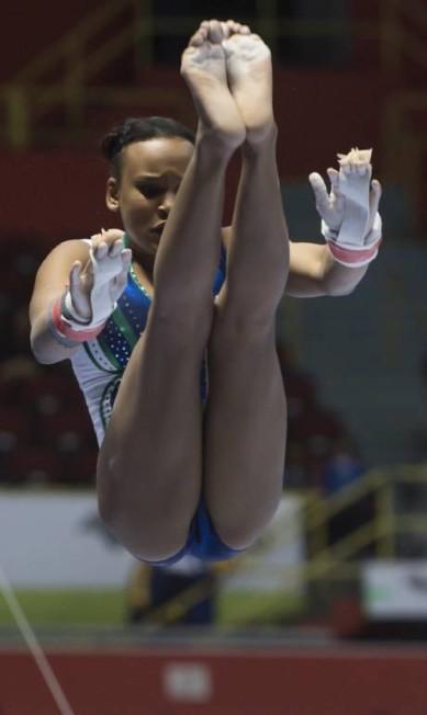 A brasileira Rebeca Andrade, durante a final das barras assimétricas NELSON ALMEIDA / AFP