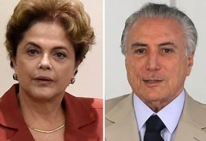 A presidente afastada, Dilma Rousseff, e o presidente interino, Michel Temer Foto: Montagem de fotos/ Agência O Globo