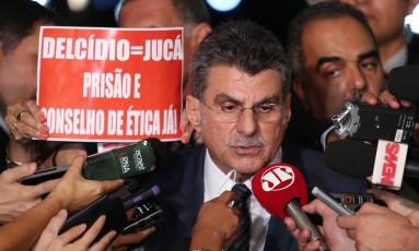 Romero Jucá pede licença do ministério após divulgação de gravações Foto: André Coelho / Agência O Globo