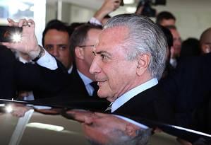 Temer deixa o Congresso. Em reunião no Planalto, presidente decidiu o afastamento de Jucá Foto: Jorge William