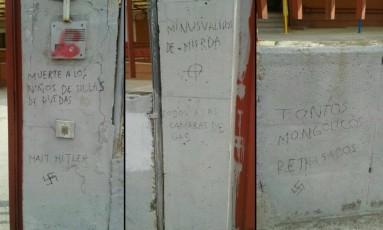 Paredes vandalizadas de escola em Madri Foto: Reprodução