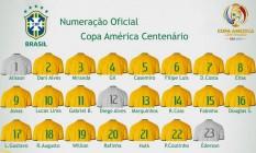 Numeração oficial da seleção brasileira na Copa América Centenário, nos EUA: Lucas Lima é o 10 na ausência de Neymar Foto: Divulgação
