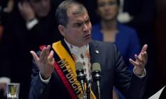 Rafael Correa durante pronunciamento no Parlamento equatoriano Foto: RODRIGO BUENDIA / AFP