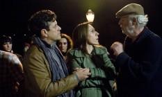 No set. Ugo Giorgetti (de boina) dirige Siomara Schröder e Francisco Brêtas Foto: Divulgação