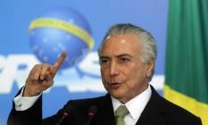 O presidente interino Michel Temer discursa durante cerimônia de posse do ministro da Cultura, Marcelo Calero Foto: Givaldo Barbosa