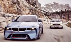 DNA. Feito sobre o atual BMW M2, o carro-conceito 2002 Hommage é compacto como seu inspirador, o modelo 2002 Turbo, lançado em 1973 (à direita) Foto: divulgação / fotos de divulgação