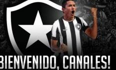 Botafogo dá as boas-vindas a Canales Foto: Divulgação
