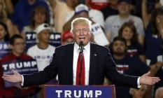 Em 24 de maio, Donald Trump discursa em um comício em Albuquerque, no Novo México Foto: Brennan Linsley / AP