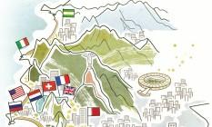Mapa com as casas de dez países que vão funcionar no Rio durante os Jogos Foto: André Mello / O GLOBO