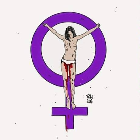 Muitos internautas trocaram suas fotos de perfil por imagem de mulher sendo crucificada Foto: Divulgação
