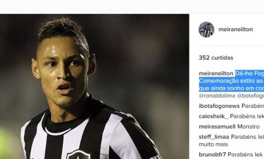 Neilton homenageou Ronaldo após vitória do Botafogo Foto: Reprodução