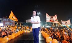 Keiko Fujimori fala em comício em Lima Foto: JANINE COSTA / REUTERS