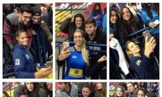 Jogadoras da seleção fazem selfie com a torcida antes do amistoso desta sexta Foto: Divulgação