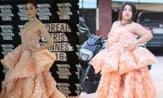 À esquerda, o vestido original; a direita, a versão de biscoito Foto: Reprodução Facebook