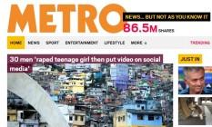 Metro, do Reino Unido, destacou o estupro coletivo de uma menor no Brasil na capa de seu site Foto: Reprodução