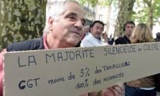 Manifestante protesta contra a reforma trabalhista na França Foto: JEAN-FRANCOIS MONIER / AFP